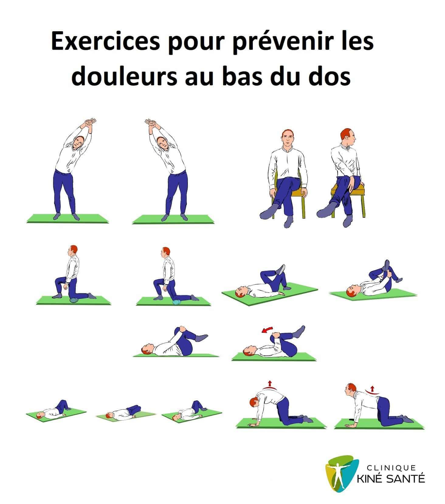 Image d'une série d'exercice pour prévenir les douleurs au bas du dos